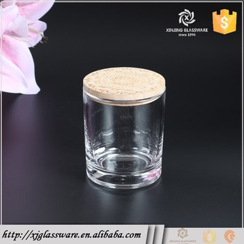 New Craft Item Wholesale Decorative Round Glass Candle Jars Wooden Custom Decorative Glass Jars With Lids Wholesale