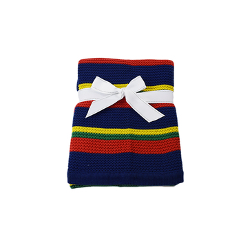 Free Sample Super Soft Children'S Navy Striped Blanket
