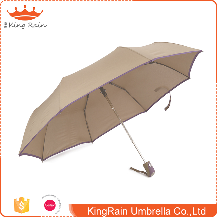 High quality 190T pongee full color heat transfer printing automatic umbrella open 3 fold