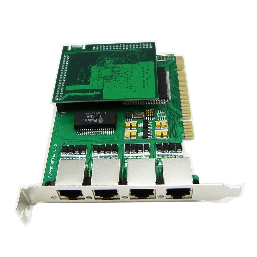 Quad Span Selectable E1 or T1 Pci Card with Octasic Hardware Echo Cancel Module Suitable for Asterisk Based Applications