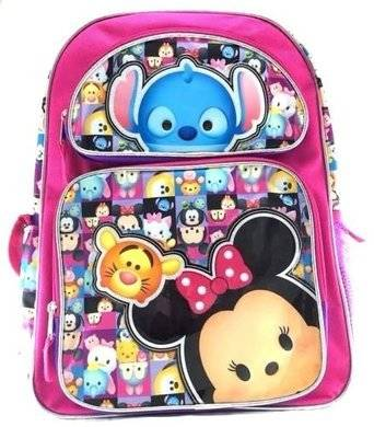 "New Disney I Love Tsum Tsum 16"" Canvas Pink Backpack"