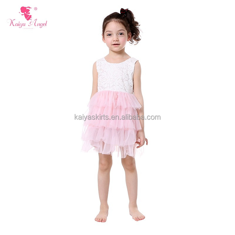white embroidery tank top and pink chiffon ruffle flare children girls summer daily dresses