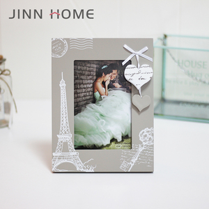 Silver Color 4x6 Inch Wood Wedding Picture Frame Heart Decor Love Romantic Anniversary Gift To Say I Love You