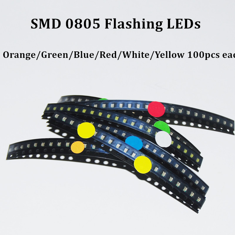 Blue White 0805 Smd Leds Blinking Flashing Led Diod Red Yellow 600pcs Flash 0805 Led Diode Mixed Orange Jade-green