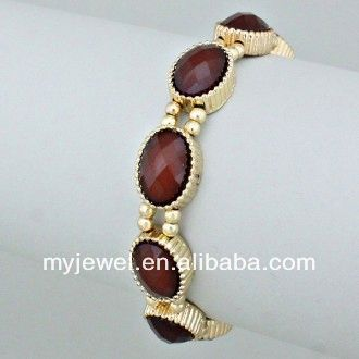 Delicate handmade gem embedded beads adjustable bracelet ( mix color ) stainless steel jewellry