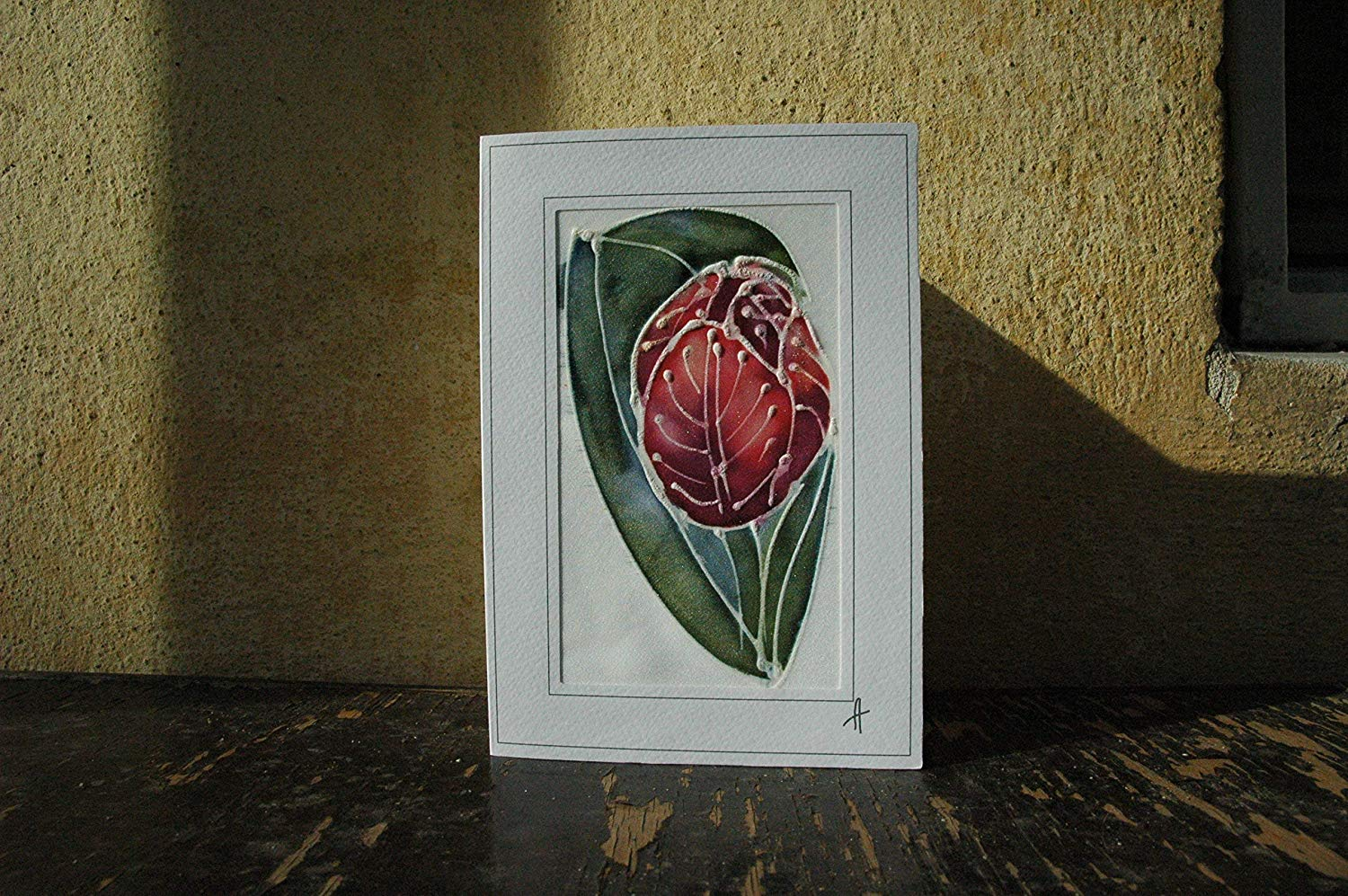 Sale!!!15% Off,Red Tulips Card, Silk Painting Greetings Card, Tulip Gift Flower Card, Blank Card, Tulip Mother Day, Mom day, Happy Birthday card, Tulip Card.