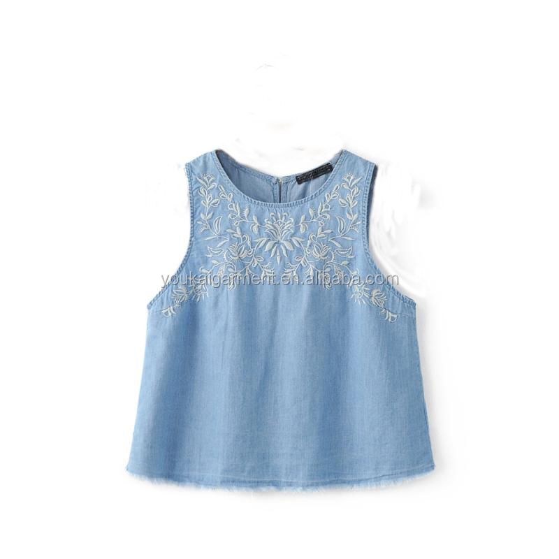 manufacture clothing jeans girls sleeveless women raw edges embroidered shirt denim blouse