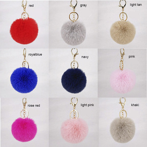 Factory price simple and elegant faux rabbit fur pompom keychain fluffy ball keyring 8cm