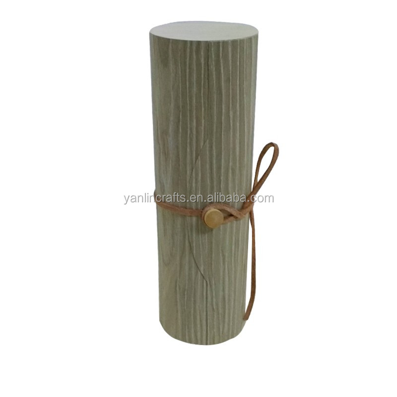 Natural single bottle cylinder wooden wine box