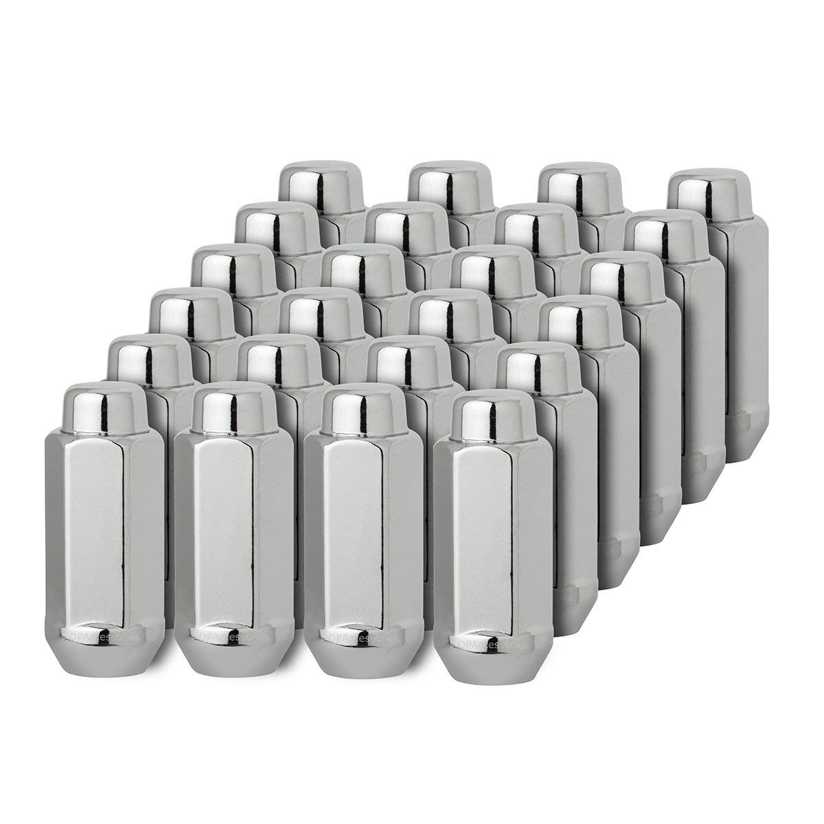 for 8Lug Wheels Precision European Motorwerks Conical Cone Taper Acorn Seat Closed End Long Extended Installs with 19mm or 3//4 Hex Socket 9//16-18 Thread Size 32pc Silver Chrome Bulge Lug Nuts 1.8 Length