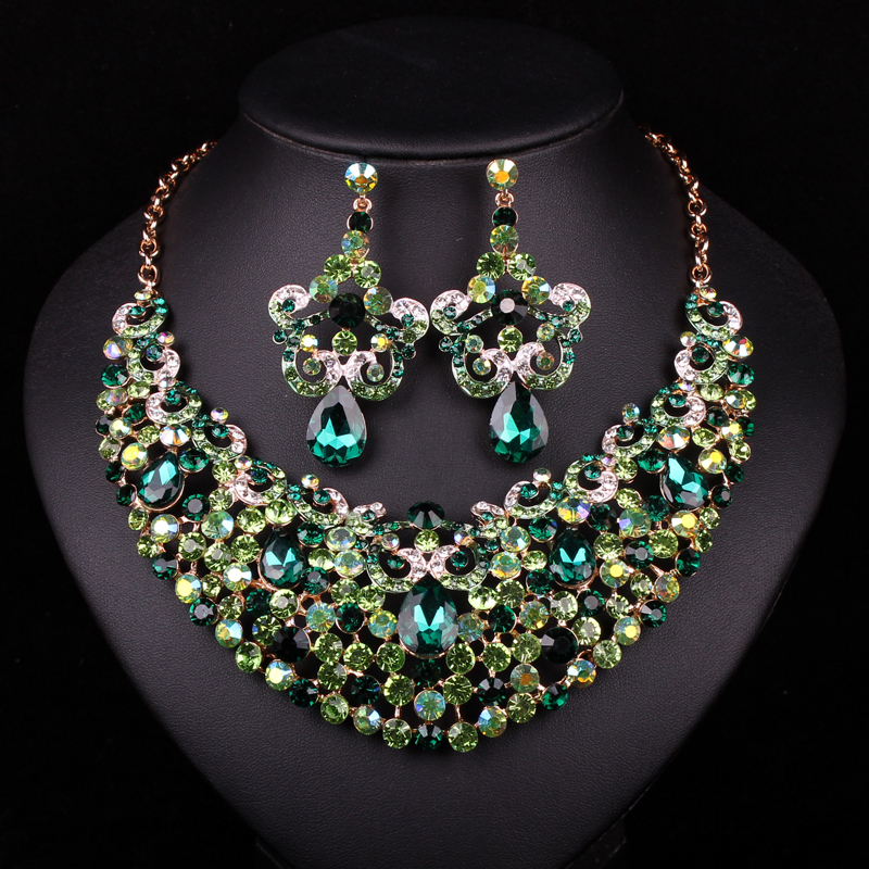 Fashion Gold Plated Necklace Earring Indian Bridal Jewelry