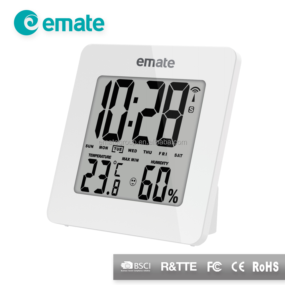 Pure white LCD digital time clock thermometer clock humidity meter clock