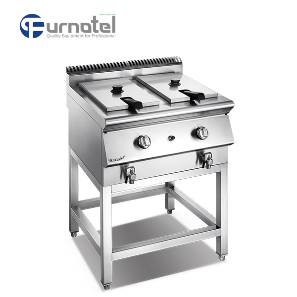 Furnotel Commercial Stainless Steel 2 Tank 2 Basket Gas Deep Fryer Machine With Stand