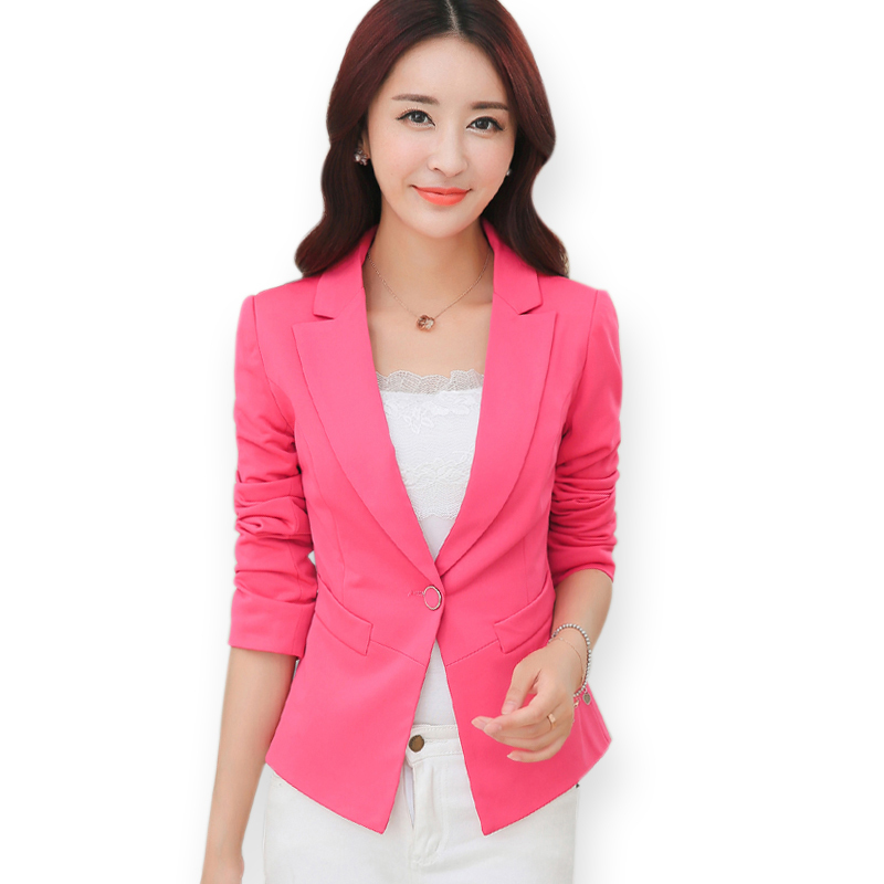 e03684b2bf Buy Candy Color One Button Full Sleeve Slim Fit Women Blazers 2015 Spring  Autumn Formal Office Ladies Business Suit Bleiser Feminino in Cheap Price  on ...