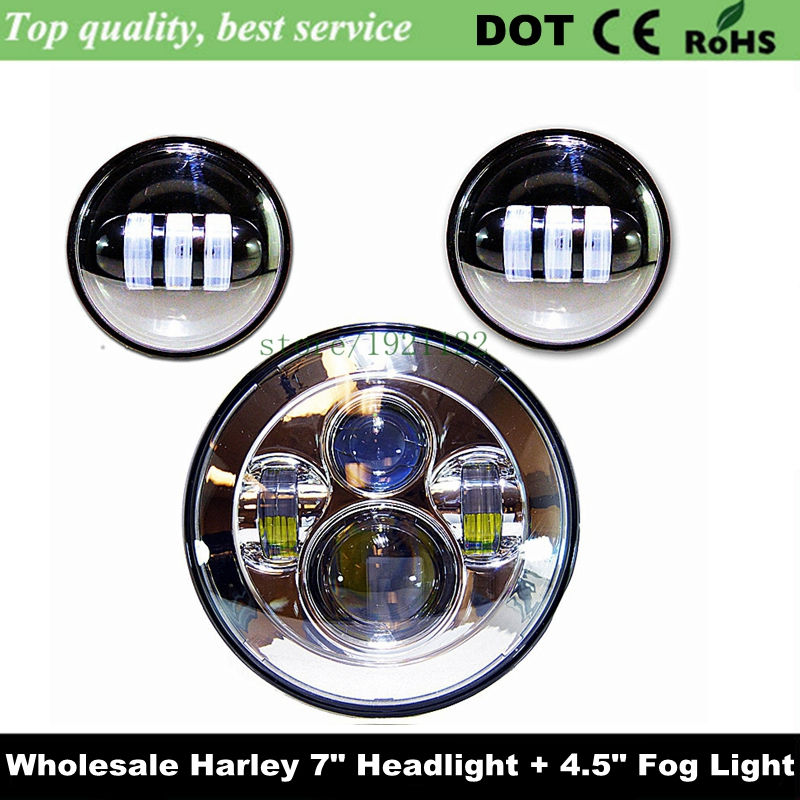 "Motorcycle Accessories 7"" LED Head Light + 4 1/2"