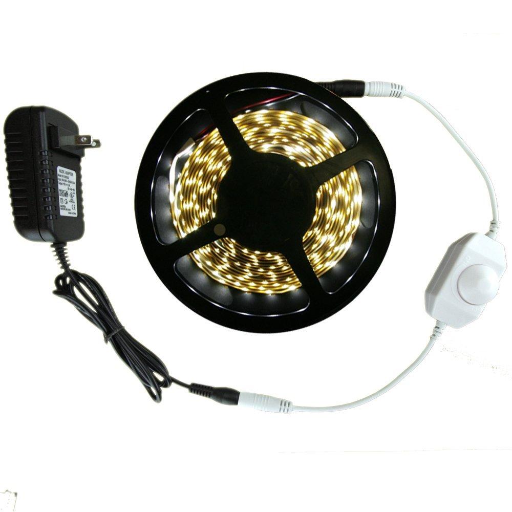 Warm White Smd3528 Led Tape Light Strip Kit 300 Leds 16 4 Ft 5 Meter Roll 24 Watt Adapter Dimmer