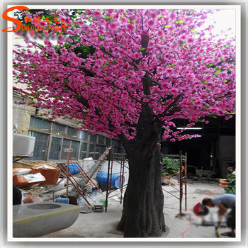 St Cr31 Dark Pink Cherry Flower Tree Chinese New Year Decorative Trunk