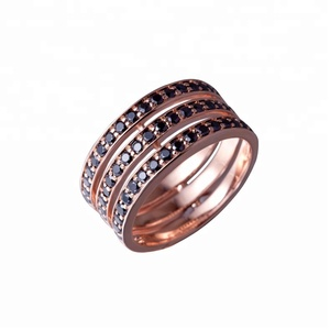 Joacii 18K Rose Gold Plated Hollow 925 Silver Zirconia Jewelry Ring