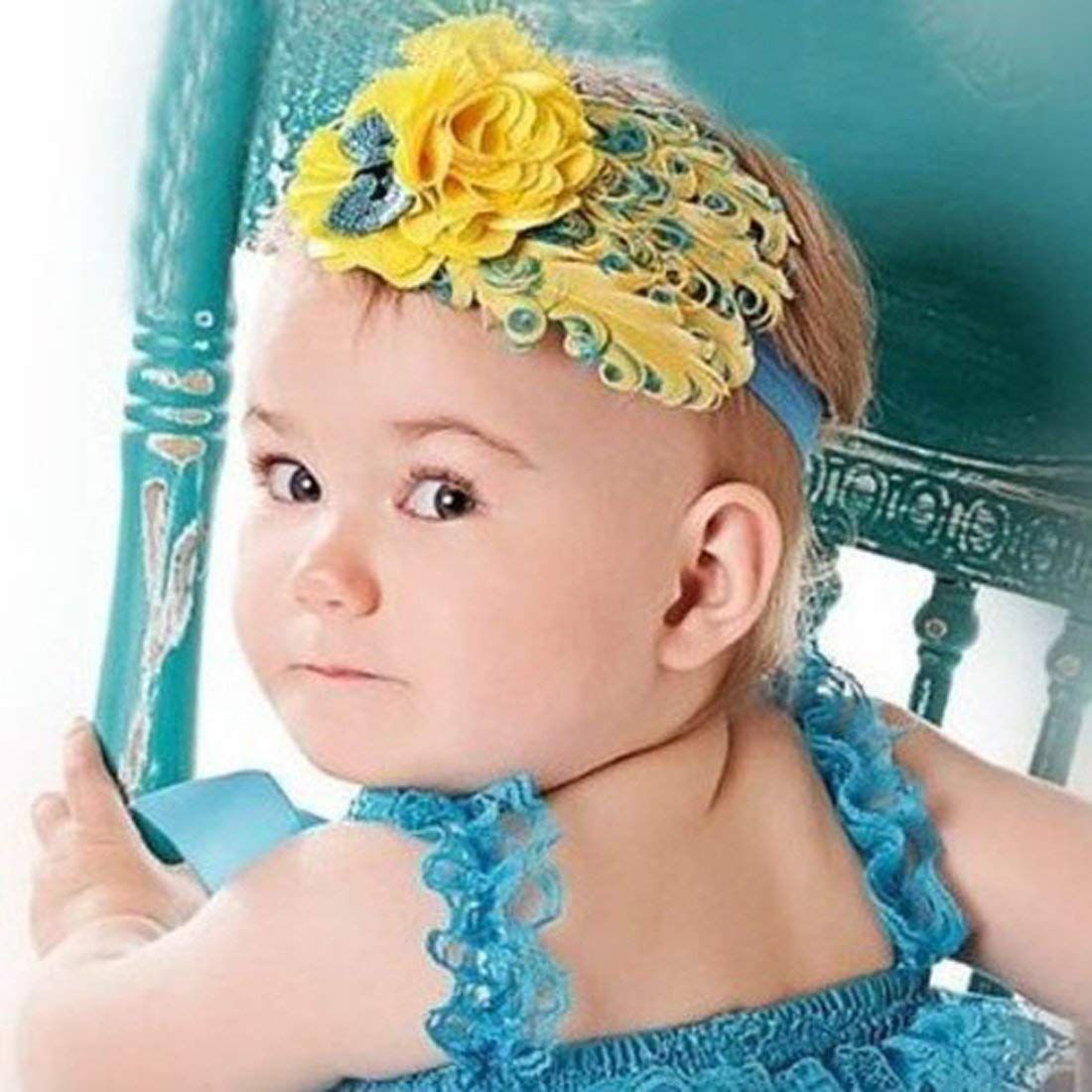 Nicedeal Lovely Unusal Cotton Girls Baby Yellow Feather Hairband Yellow Big Flower HeadbandFor Hair Beauty and Hair deco