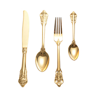 hot amazon home 2018 stainless steel tableware dinnerware set gold plated cutlery set