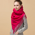 Red solid color plain knitted nepal cashmere scarf