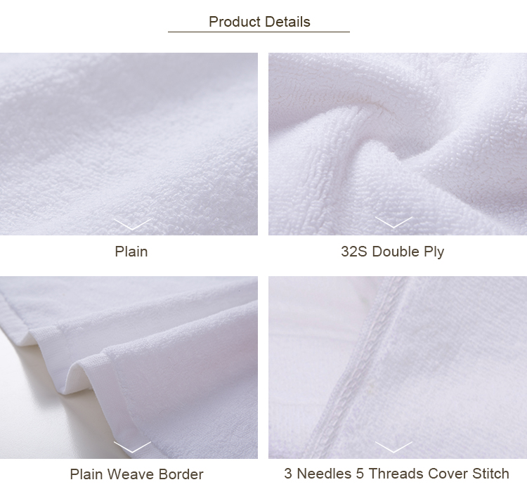 Sturdy premium 32s double ply plain white towel set cotton bath hotel towel