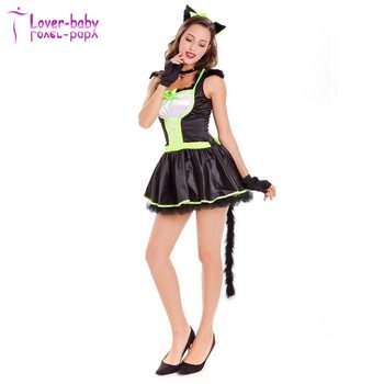 Women Adult Sexy Black and Green Furry Cat Dress Costume L1143  sc 1 st  Wholesale Alibaba & Women Adult Sexy Black And Green Furry Cat Dress Costume L1143 - Buy ...