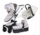 2018 Fashion baby stroller Luxury Leather Baby Stroller hot selling 3 in 1 or 2 in 1 baby pram