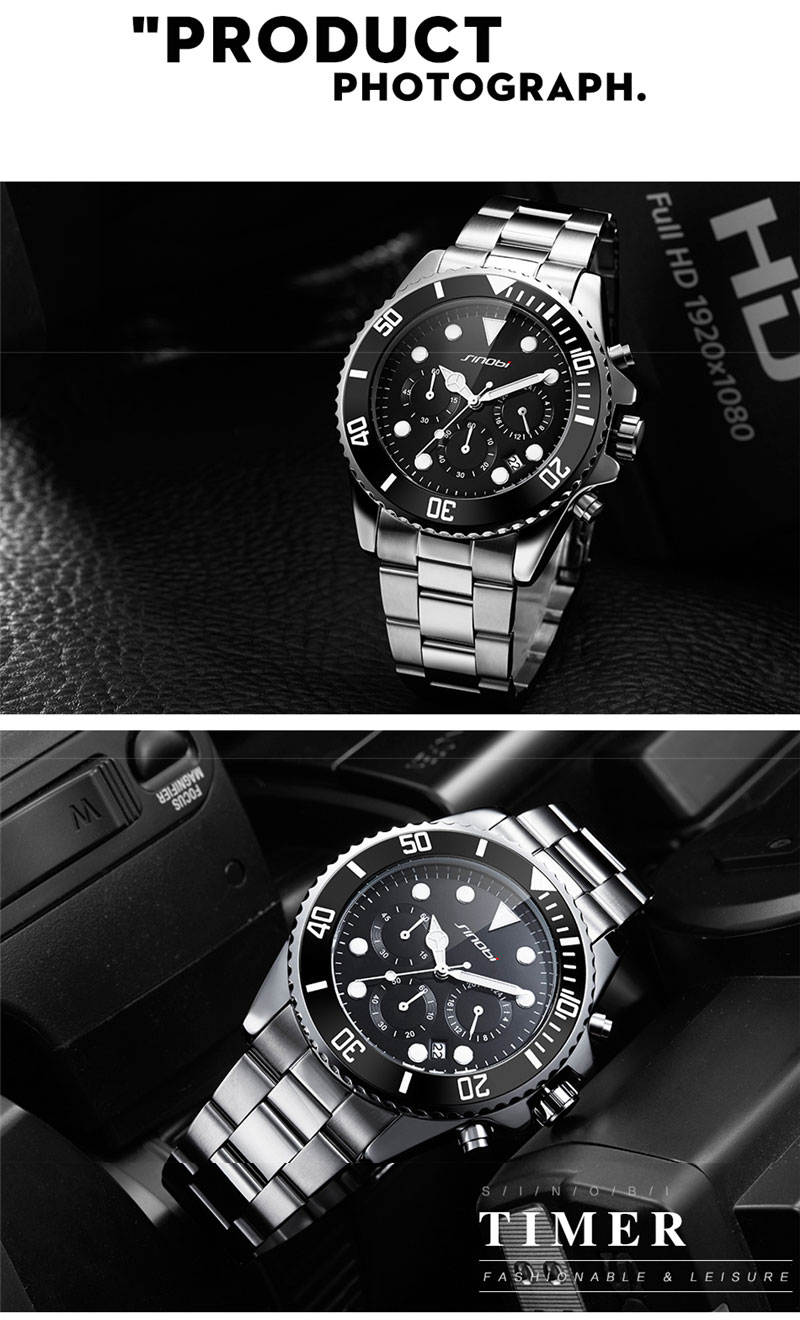 b53f1d5b2ec SINOBI Stainless Steel Watch Men Black Rotatable Clock Fashion Business  Chronograph Quartz Watch Sports Relogio Masculino