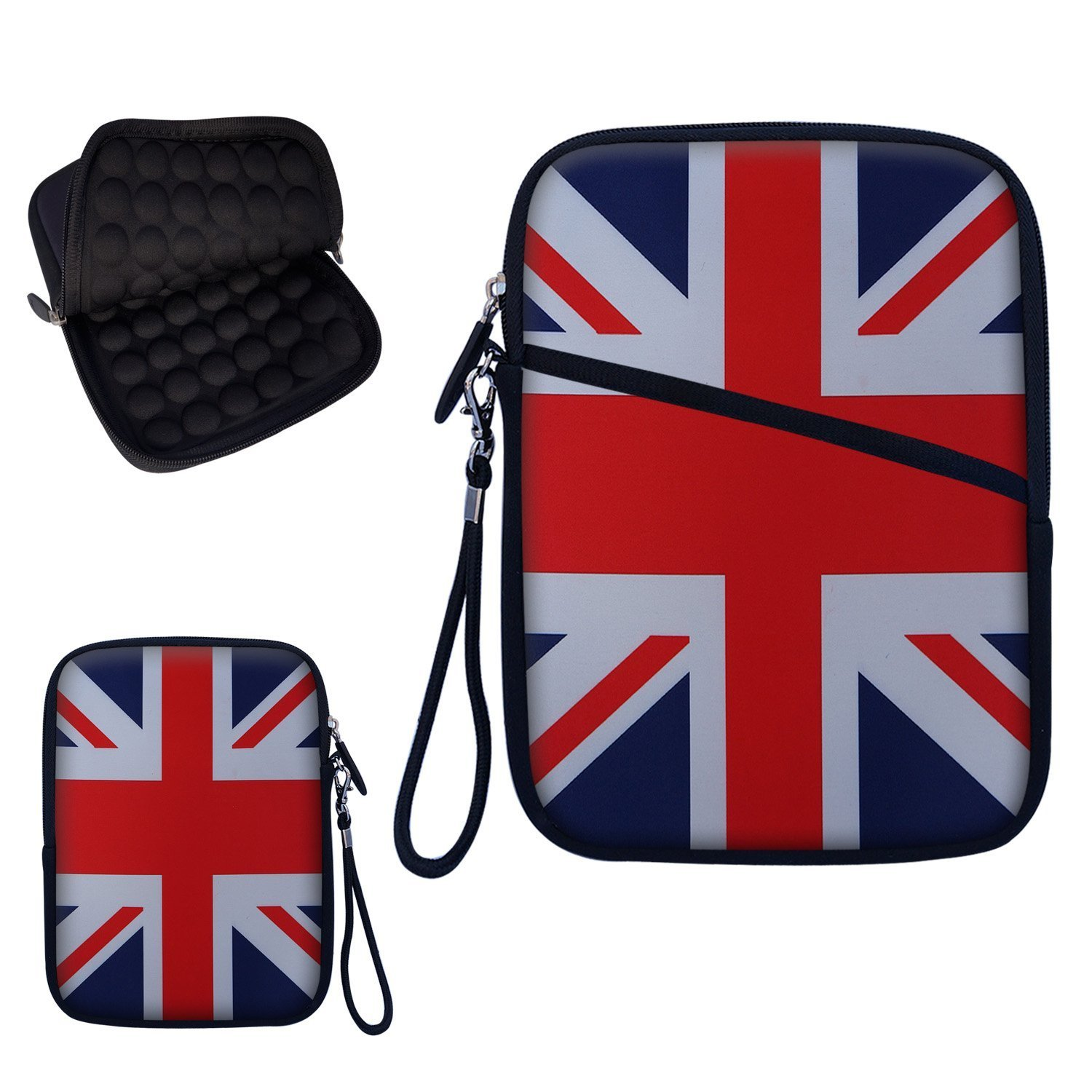 """Neoprene Super Padded Bubble Sleeve Case Cover with Removable Carrying Handle Fits Apple iPad Mini / Amazon Kindle Fire HD / Google Nexus 7 / Samsung Galaxy / Asus / Acer / Archos and Similar Size 7"""" Tablet - England Flag Design"""