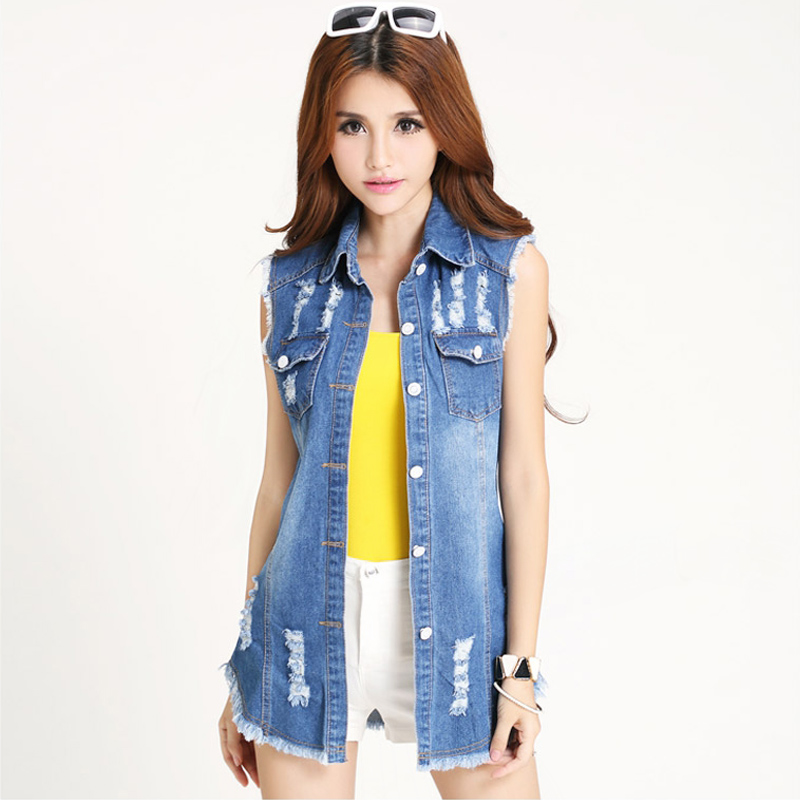 2015 summer women new fashion Vintage Hole denim vest famale denim jacket long Outerwear plus size Thin jeans jackets 5XL Q0692