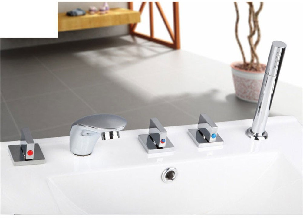 split-hot and cold faucet/Bathtub faucets with five piece of cover/Five-hole faucet hot and cold waterfall showerhead-C