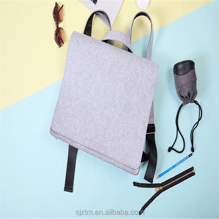 promotional grey color school bags trendy felt backpack for laptop