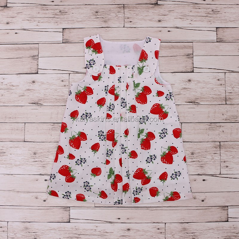 white cotton red printed strawberry and flower sleeveless cute infant summer gowns