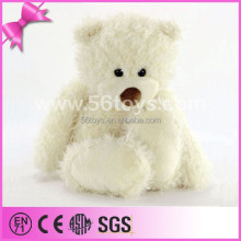 Custom shy fluffy white teddy bear, plush teddy bear white, teddy bear factory china