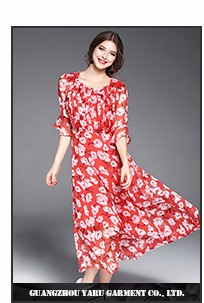 Long sleeve hight quality long flared skirt maxi long dress women red dress