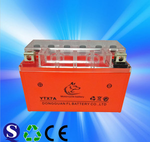 Dry charged battery YTX7A mf motorcycle battery 12v 7ah