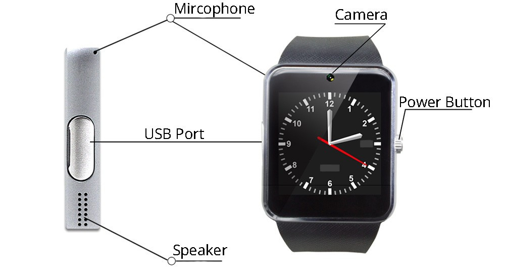 Top selling products 2018 gt08 smart watch for IOS Android