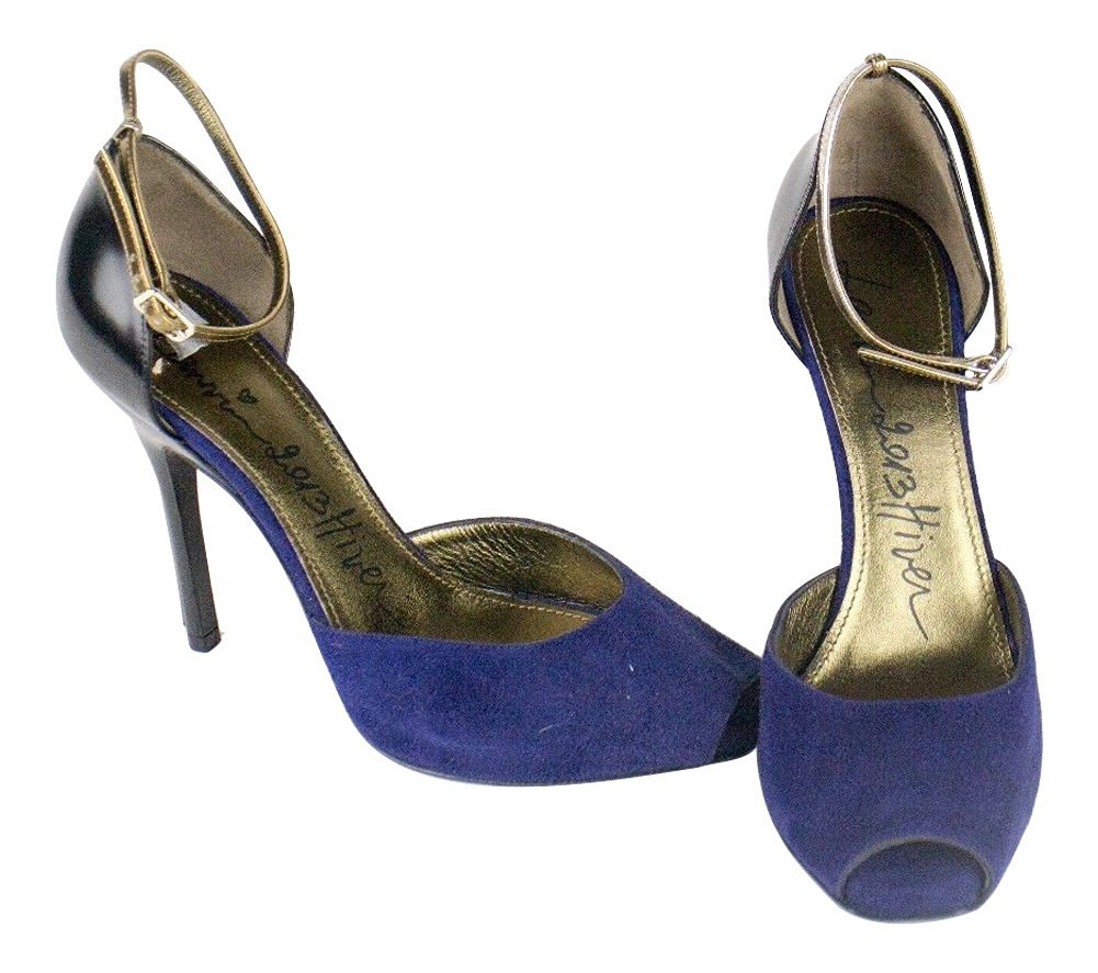 """Lanvin Women's Strapped Blue Suede Leather 4.75"""" Heels Shoes 9.5/39.5"""