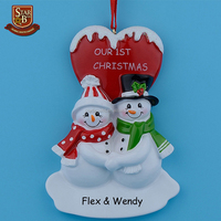 Christmas couple snowman resin hanging ornaments with glossy personalized heart as for gifts