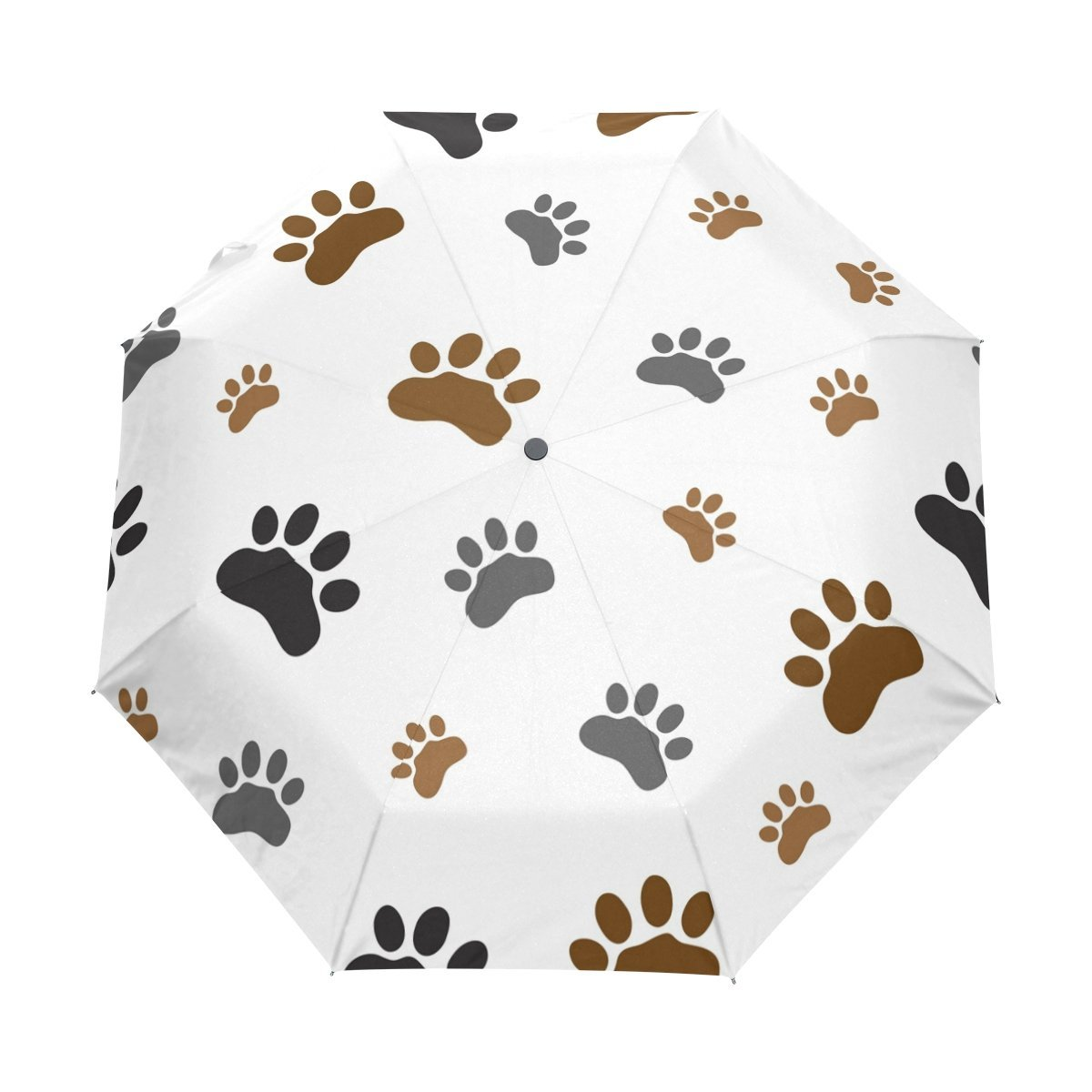 WOZO Hipser Dog Paw Print 3 Folds Auto Open Close Umbrella