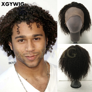 "Stock 10"" cheap short 100% Indian Remy Human Hair Afro kinky curly full lace wigs for black man"