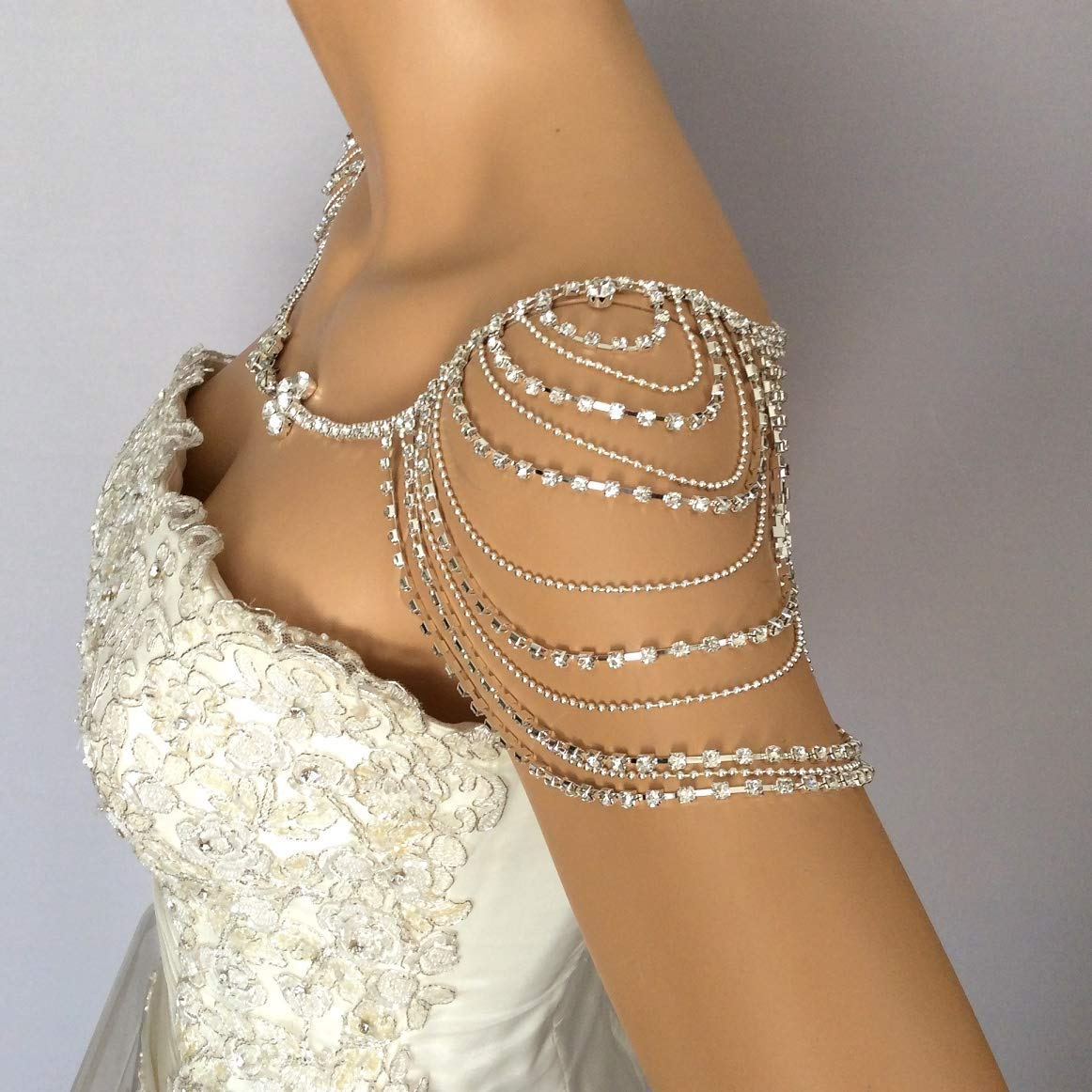 Rhinestone Shoulder Jewelry For Bridal, Crystal Wedding Dress Shoulder Necklace, Body Accessory For Wedding Dress Wedding Shoulder Necklace