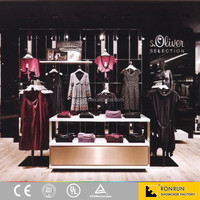 Modern lady clothes shop interior clothes display furniture custom made stainless steel display shelf and dispaly rack
