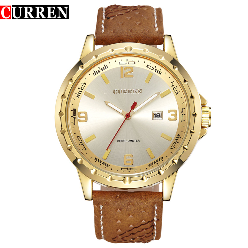 <strong>Date</strong> Displaying Curren Men Hot Men's Military Watch Curren 8120 Genuine Leather Strap Japan Movement Watches men Relojs