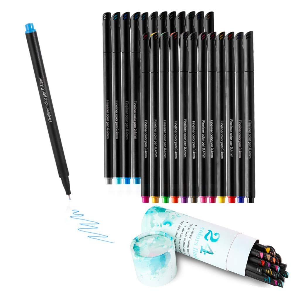 KAILEDI Fineliner Color Pens Set , Colored Fine Point Pens Markers , Fine Point Bullet Journal Pens Sketch Writing Drawing Markers Set for Coloring Book Taking Note Calendar-Water Brush Pens (Black)
