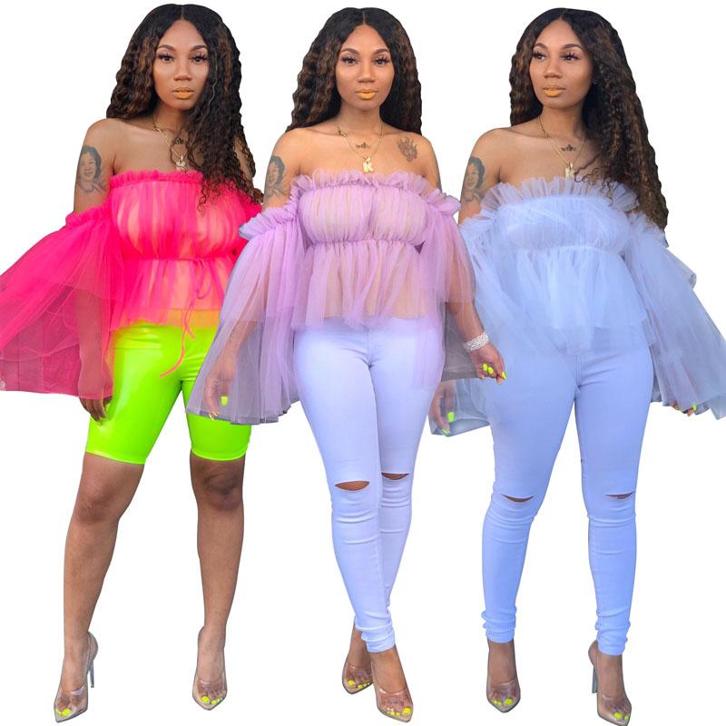 90625-MX5 summer mesh yarn off shoulder women blouses design фото
