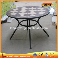 Dia106cm Tile Top Garden Coffee Table With Mosaic Table Pattern