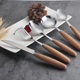 Elegant Wood Handle Spoon Knife Fork Engraved Cutlery Wooden Flatware Set