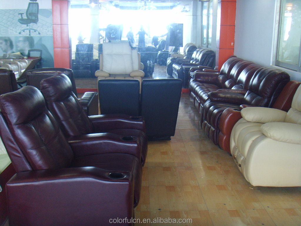 Indian Model Sofa,Colorful Leather Sofa In Factory Showroom